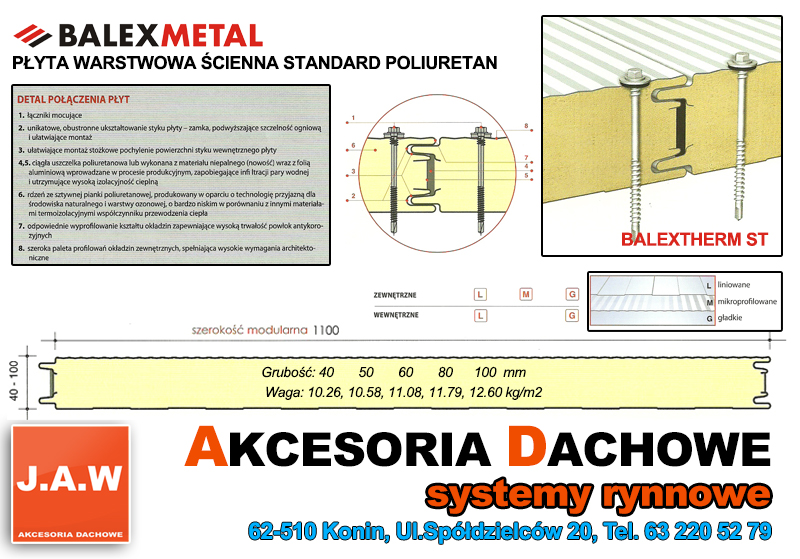 Modernistyczne Płyta warstwowa BALEX ze styropianu lub poliuretanu JAW - Konin MM99