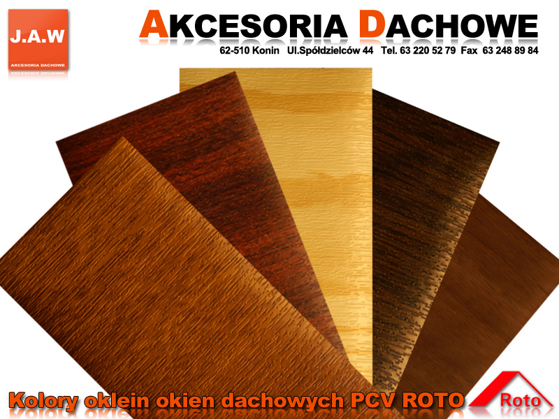 W Ultra Okna dachowe ROTO PCV w okleinie złoty dąb, orzech, mahoń, czarny SI08